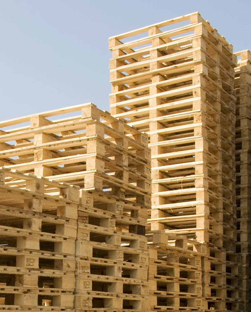 stack of new block pallets outside
