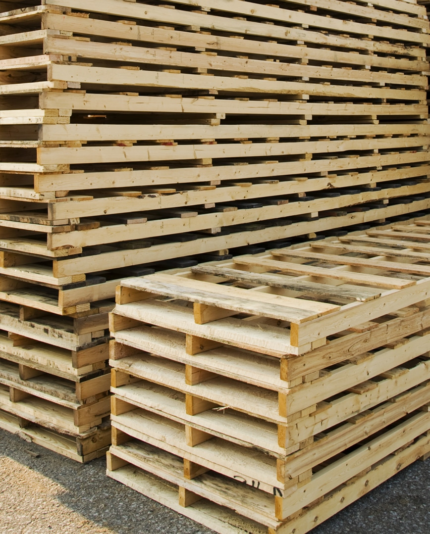 Stack of new wood pallets