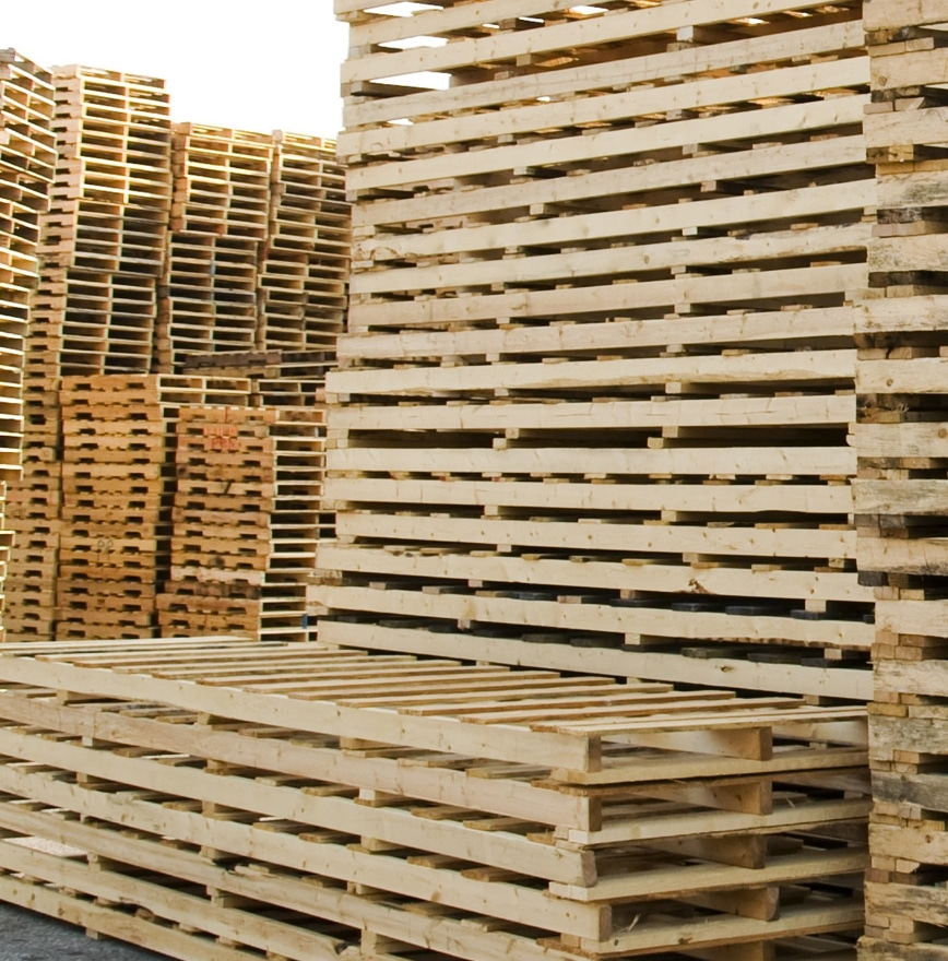 stack of new custom pallets outside